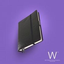 Whitebook Premium, P028w, Ostrich embossed, Black